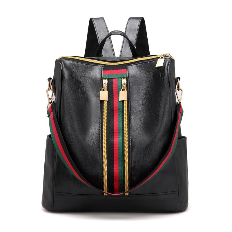 New Leisure Simple Zipper Women Travel Stripe Mini Small Backpacks PU Leather Waterproof Totes Luxury Luggage Duffle Shoulder