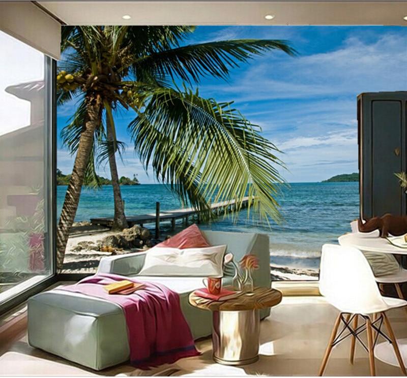 Custom 3D large murals,Sea Tropics Sky Beach Palma Nature ...
