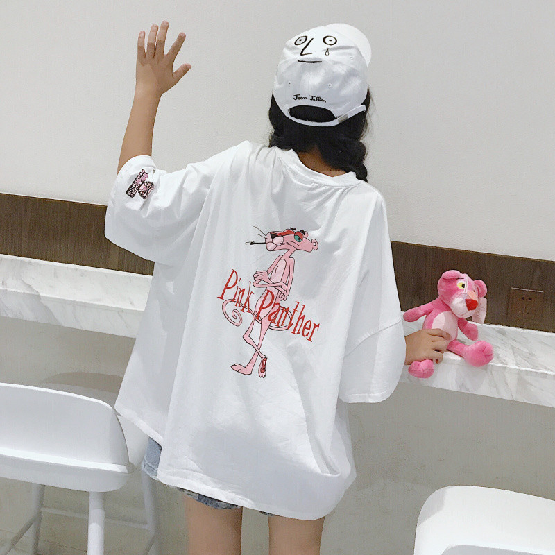 Summer T Shirt Women Pink Panther Printing Loose Casual Harajuku Ulzzang T-shirt Short Sleeves Tshirt Tops Tee Plus Size Shirt