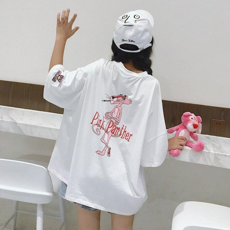 Summer   T     shirt   women Pink Panther printing loose casual harajuku Ulzzang   T  -  shirt   Short Sleeves tshirt Tops Tee plus size   shirt