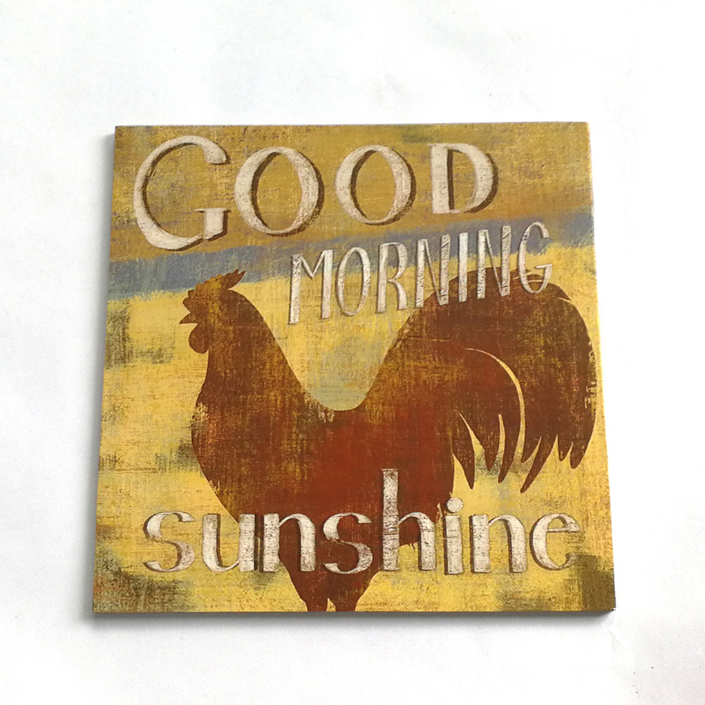 Sign Board Retro Hen Good Morning Sunshine Letter Wooden Plaque Wall Decor Hanging Pendant for Farm Ranch Plank