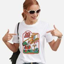 Funny Tumblr Tees 90s 80s Vintage Female T-shirt Harajuku Streetwear Korean Style Fashion Tops Lets Catch Santa Printed Tshirt(China)