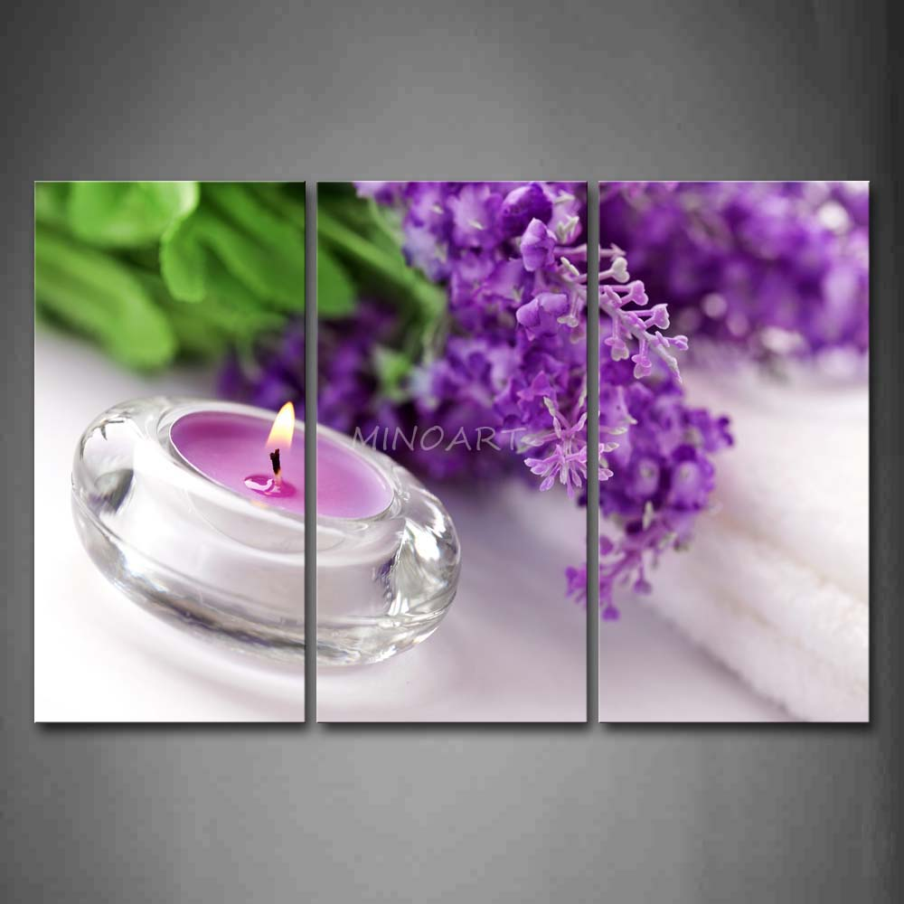 3 Piece Wall Art Painting Candle Near Purple Flower Portrait Picture Print On Canvas 4
