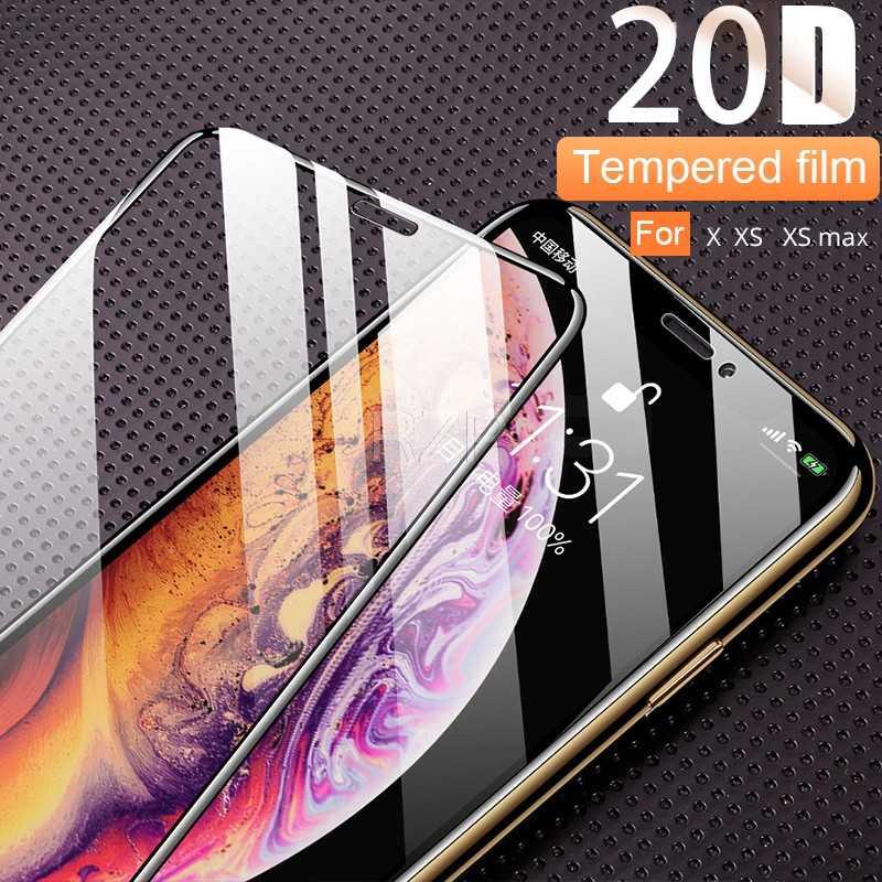 RZP 20D zakrzywione pełne pokrycie osłona ekranu dla Apple iPhone X XR Xs Max 6 6 s 7 8 Plus 6 Plus szkło hartowane 3D 5D Film