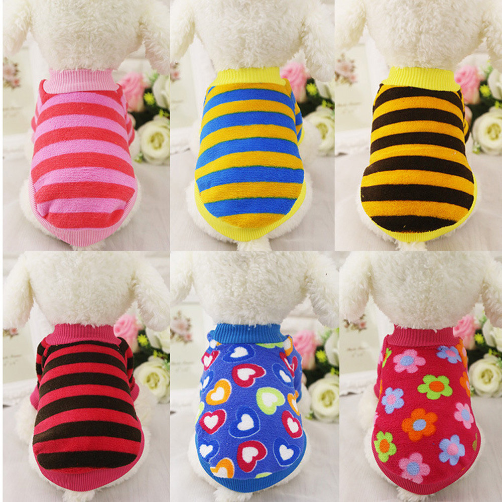 6 Styles Coral Cashmere Striped Dog Coats Sweater Pet Clothes For Small Dogs Chihuahua Winter Warm Puppy Costume French Bulldog