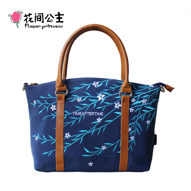 Flower Princess 2017 Canvas Embroidery Vintage Large Tote Bag for Women Girls Handbags Shoulder Crossbody Bags Travel Shopping