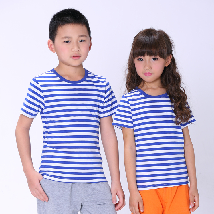c1d833b25ddbd Summer Fashion Marine Style Boys Girls Striped T-shirt Active Cotton Children  T-shirt Soft Red Blue Black with White Striped