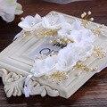 Korean bride full lace headdress flower hair wedding frontlet pearl creative wedding jewelry