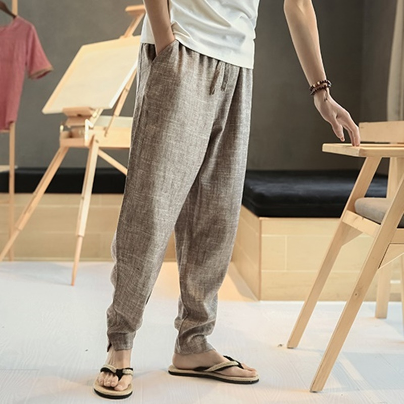 Mens lightweight summer pants traditional chinese pants linen pants men TA114