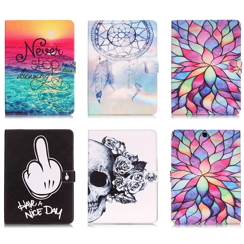 Fashion lotus Skull Pattern PU Leather Flip Case For Samsung GALAXY Tab S2 9.7 SM-T815 T815C Smart Tablet Stand With Card Slot