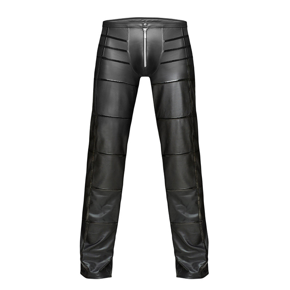 2019 Sexy Men Faux Leather Open Crotch Erotic Latex Pants PVC Night Club Men Straps Trousers Gothic Punk Fetish Club Wear
