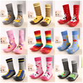 2016 más nuevo antideslizante bebé calcetines moda de dibujos animados flor de la raya monos de algodón calcetines de interior del piso del bebé calcetines y calentadores de la pierna