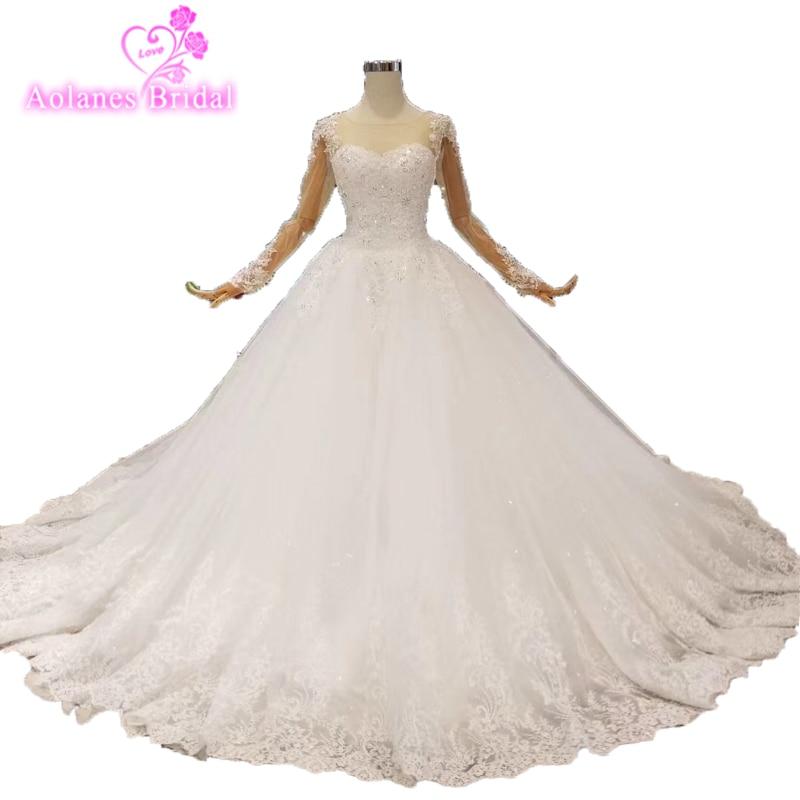 Robe De Mariee Vintage Nature White Wedding Dresses Long Sleeve Wedding Gowns Beading Sheer Nude Tulle Bride Dress 2018 Gelinlik