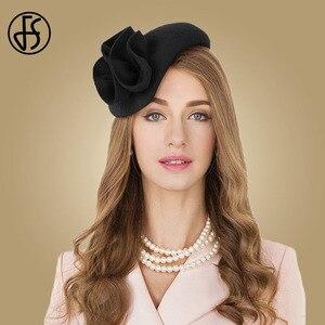 Image 2 - Fs 女性ウールの魅惑的な帽子結婚式の女性のエレガントなティーパーティー正式なヴィンテージピルボックス hatfelt 花 fedoras 帽子ファム