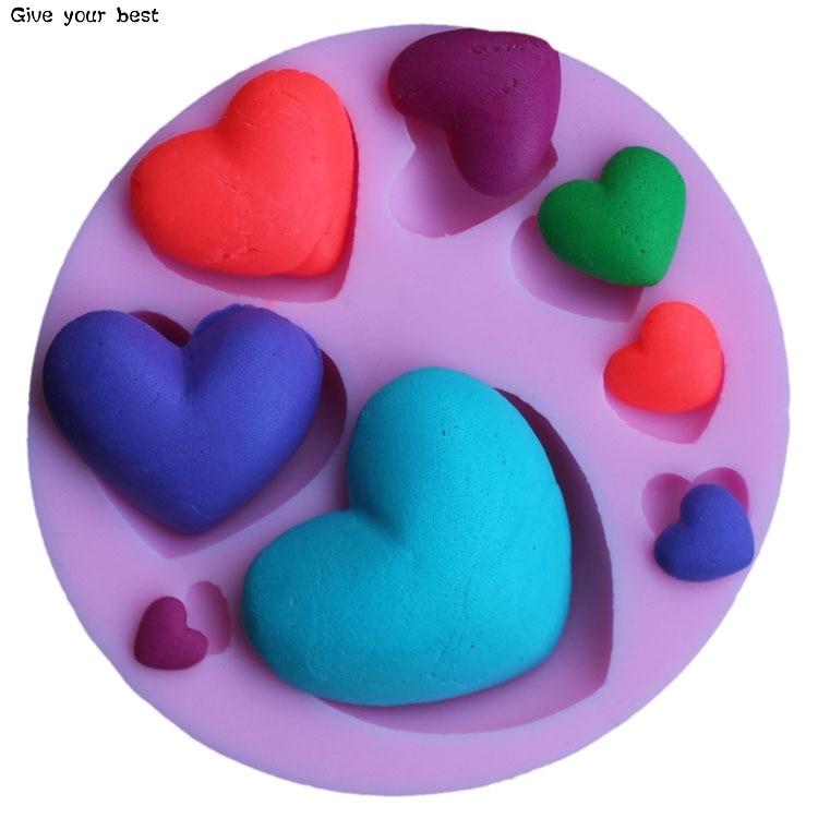 Sydämenmuotoinen silikoni-suklaamuovi-silikoni Sydämenmuotoinen - Keittiö, ruokailu ja baari