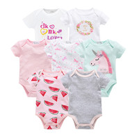 2019 7pcs Summer Newborn Baby Girl Bodysuits Cute Cartoon Newborn Baby Boy Jumpsuit Overalls Macaron Infant Girl Bebe Coveralls