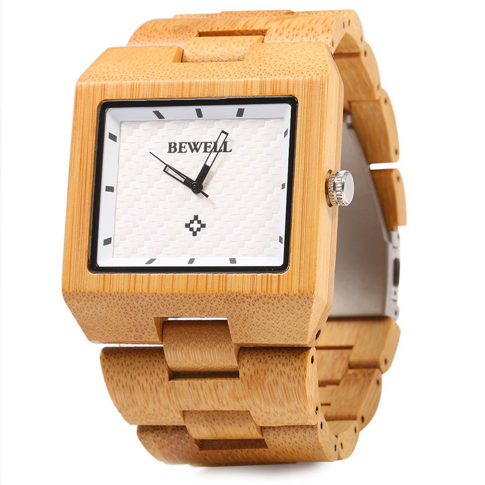 Bewell Wood Watch Men Fashion Wrist Watch, Wooden Band Rectangle Dial Analog Wristwatches, Water Resistant Casual Watches simple fashion hand made wooden design wristwatch 2 colors rectangle dial genuine leather band casual men women watch best gift