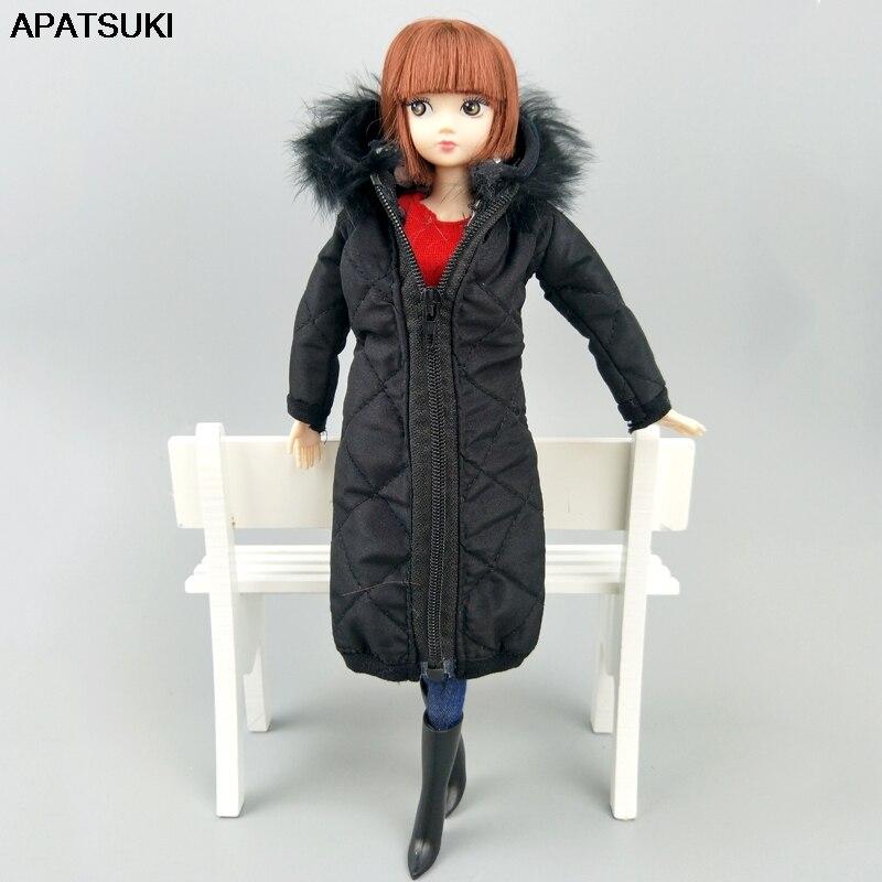 Doll Accessories Winter Fur Black Coat Silver Dress For Barbie Dolls Parka Dress