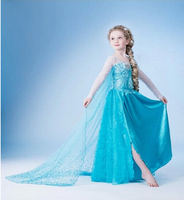 Fancy Baby Girls Christmas Party Lace Tutu Dress Cosplay Elsa Princess Snow Queen Clothes For Kid