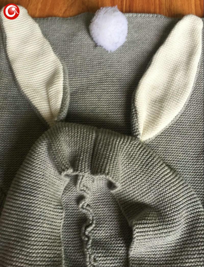 Autumn Crocheted Knitting 3D Rabbit Pattern Baby Girls Cardigan Children Toddler Boys Cotton Sweater Kids Warm Jumper 1-5Y (4)