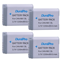 4pcs 1250mAh NB 13L NB 13L NB13L Li ion Battery for Canon PowerShot G5 X G5X G7 X G7X G7 X Mark II G9 X G9X sx720 Camera Bateria