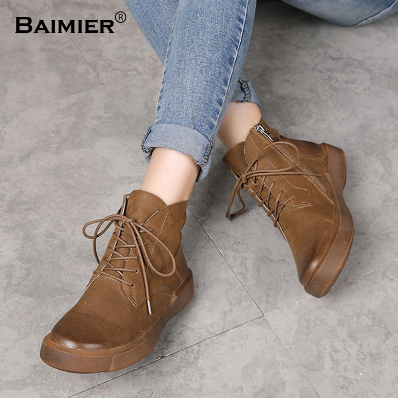New Women Boots Genuine Leather Shoes Retro Martin Boots Women Flats High Quality Vintage Winter Soft Ankle Boots Blk 35~40 new 2017 autumn winter women genuine leather boots unisex martin boots motorcycle retro shoes high quality plus size 35 44