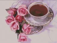 Elegant Rose Flowers Coffee Cup 14CT For Embroidery,DIY DMC Sets Cross stitch kits,Arts Pattern Cross-Stitching Decor