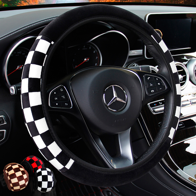 KKYSYELVA Car steering wheel cover Winter Plush Steering-wheel Covers Inner Accessories Styling