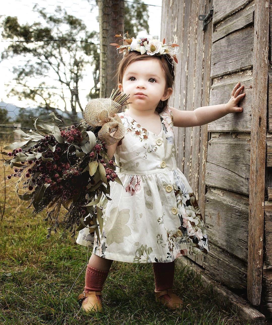 Summer Baby Kids Girls Princess Dress Pageant Sleeveless Button Floral Dresses