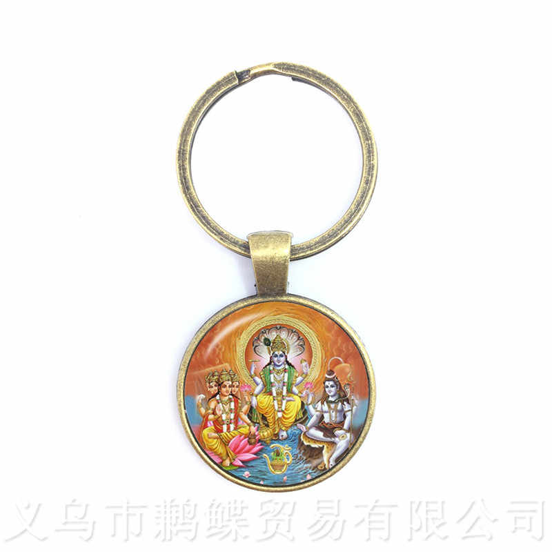 Drop Shipping Ganesha Statue Hindu Ganapati Vinayaka God Keychains,Trendy Lord Ganesha Indian Buddhism Jewelry for Women Men