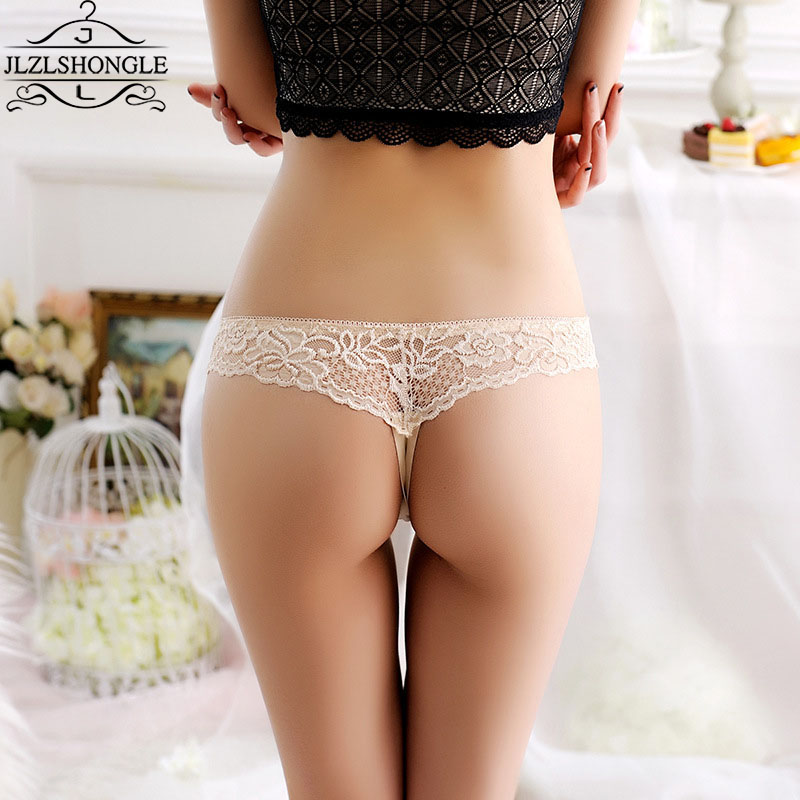 Women Lace Hollow T Back G String Transparent Panty Thong