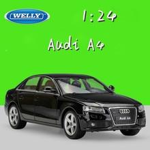 WELLY Coche de juguete modelo A4 para coche Audi escala 1:24, simulador de Metal, coches de aleación clásicos, colección de regalos