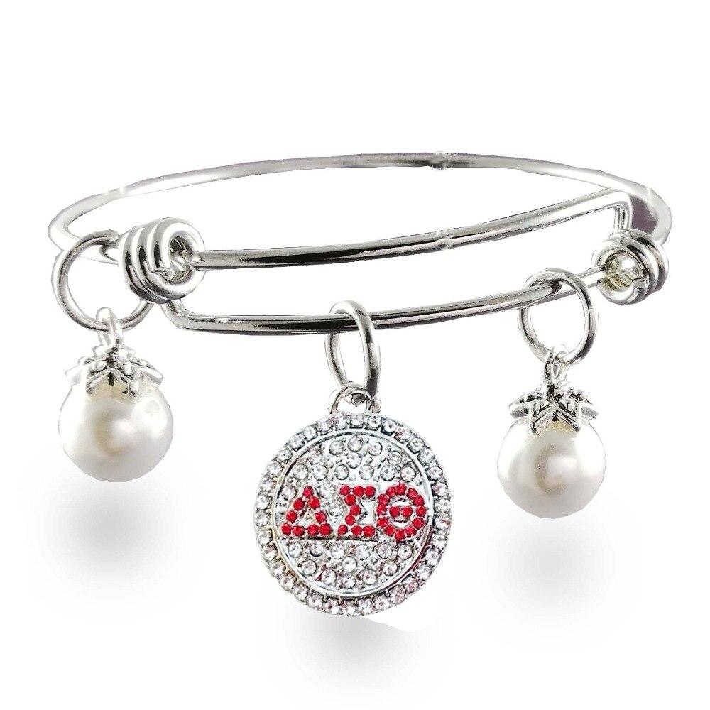 Bracelet extensible avec breloque en acier inoxydable réglable en acier inoxydable Delta Sigma Theta