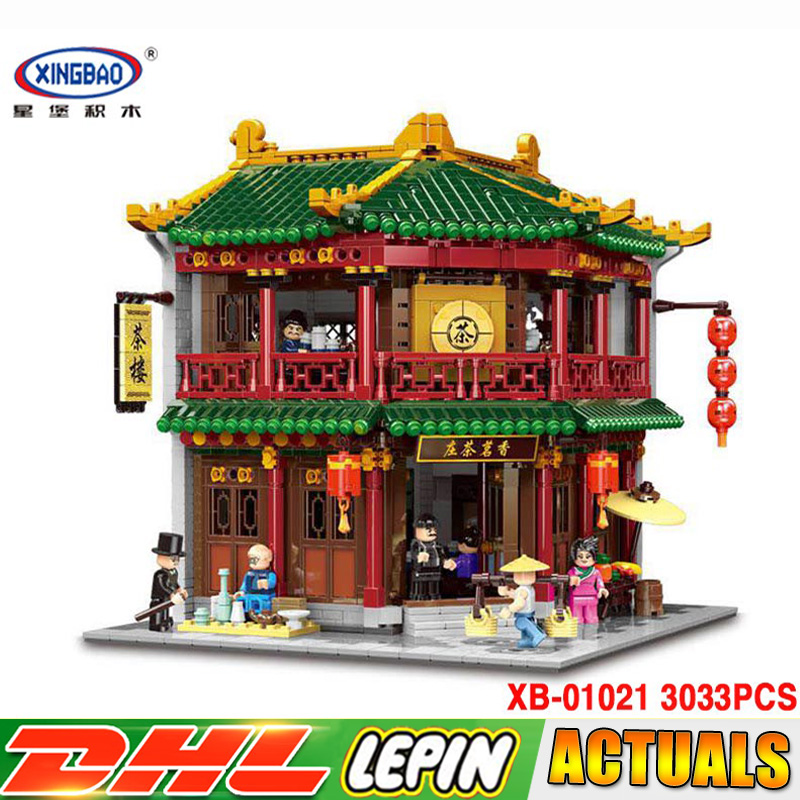 DHL Xingbao 01021 3033 pcs Classic Traditional Chinese Tea House Model Building Bricks Blocks Educational Toys for Children Gift