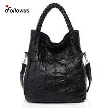 Echtem Leder Schaffell Hohe Kapazität Frauen Neue Mode OL Geschäfts Schwarz Handtaschen Bolsa Feminina