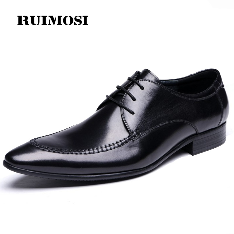 RUIMOSI Pointed Toe Handmade Man Formal Dress Shoes Genuine Leather Male Wedding Oxfords Luxury Brand Men's Bridal Flats ME50