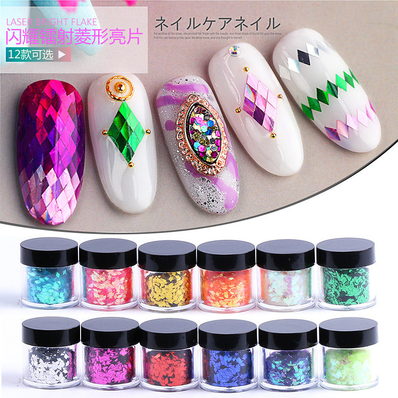 topkwaliteit 1 fles 3D nail art Glitter Pailletten ultradunne Rhombus - Nagel kunst - Foto 1
