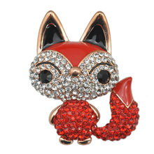 Cute Little Fox Spilla in Cristallo E Strass Spille Animali Cappotto Cappello di Accessori Per Le Donne Shinning Dei Monili Spilli Trasporto Libero(China)