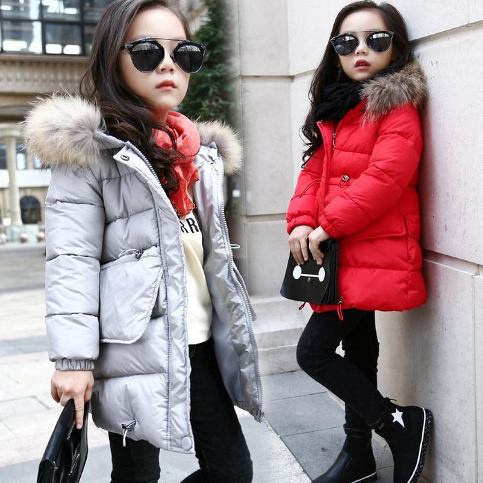 Fur Hooded Baby Teenage Winter Jacket For Girls Kids Thick Warm Comfortable Parka Outerwear Coat Jacket Children Clothes H319  olekid 2017 new cartoon rabbit winter girls parka thick warm hooded children outerwear 5 14 years teenage girls sweater coat
