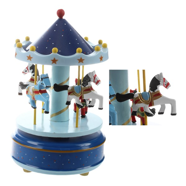 HOT SALE Musical carousel horse wooden carousel music box toy child baby Deep Blue game
