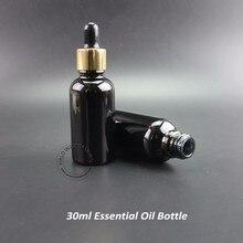 20ピース/ロットプロモーション30ミリリットルエッセンシャルオイルボトル黒ガラススポイトコンテナ女性化粧品空のジャー詰め替え1オンス包装