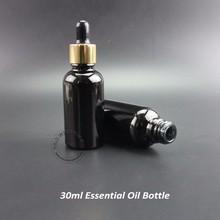 20pcs/Lot Promotion 30ml Essential Oil Bottle Black Glass Dropper Container Women Cosmetic Empty Jar Refillable 1oz Packaging