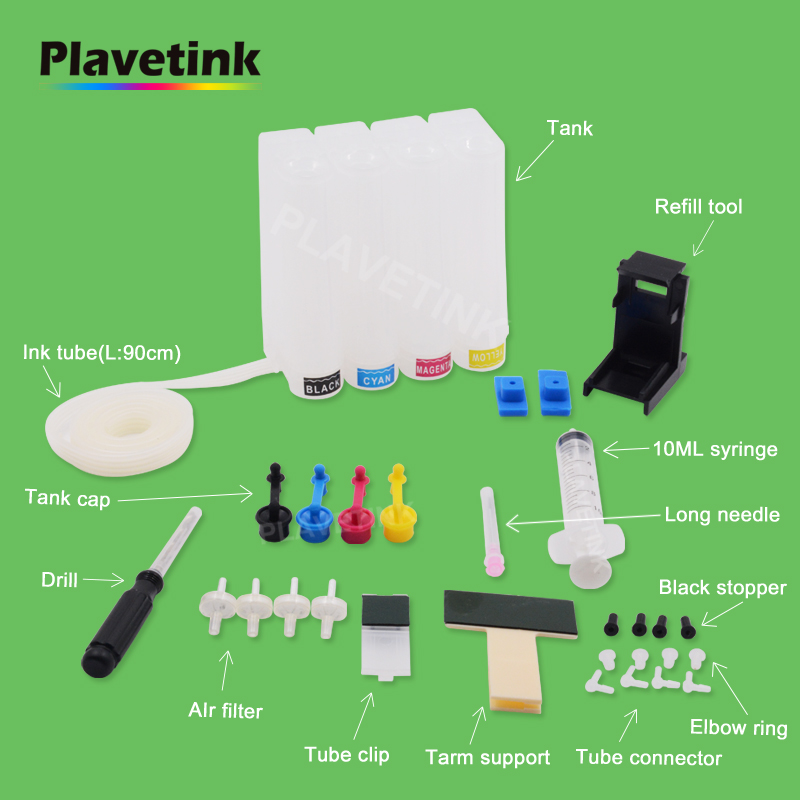 Plavetink Universal Continuous Ink Ciss System for Canon Diy Tank for HP With Suction Refill Tool Drill and all Accessories Kit