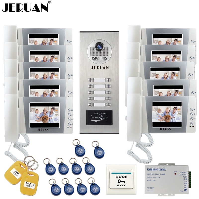 JERUAN 4,3 дюймов ЖК-дисплей видеодомофон дверной звонок Домофон Системы комплект RFID Доступа Камера для 10 Бытовая квартиры