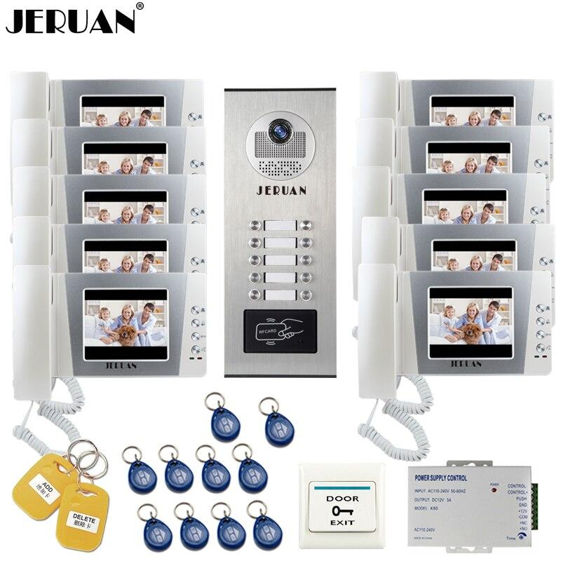JERUAN 4.3 pouce LCD Interphone Vidéo Sonnette Door Phone Intercom Système kit RFID Accès Caméra pour 10 Ménage Appartement