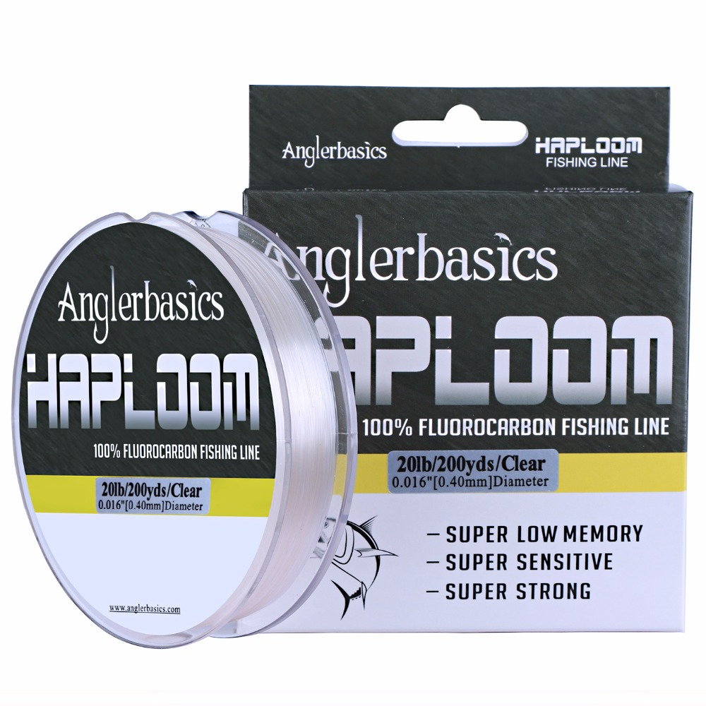Anglerbasics 100% Fluorocarbon Fishing Line Cord 182M / 200Yds Sink Fast Monofilament Carp Leader Fishing Lines Fly / Lure Fishing