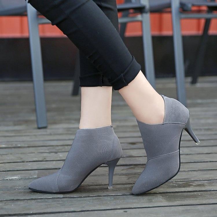 D'hiver Talons Automne gris Chaude Noir De Singe Outwear Hauts Vente Équipée Base Femelle Et Casual Pointu Mode 6960 Bout Chaussures Femmes mnv80wN