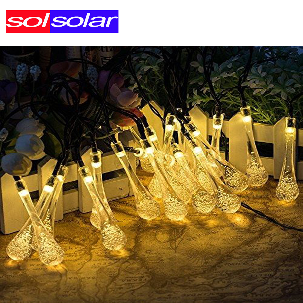 20 LED Solar Water Drop String Lights for Wedding/Christmas/Party/Festival/Decoration