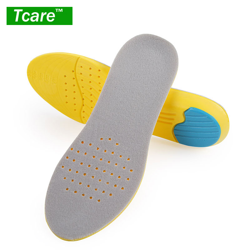 1Pair Full Length PU Breathable Sports Insoles Arch Support Pain Relief Shoe Insoles Memory Foam Inserts for Flat Feet Men & Wom