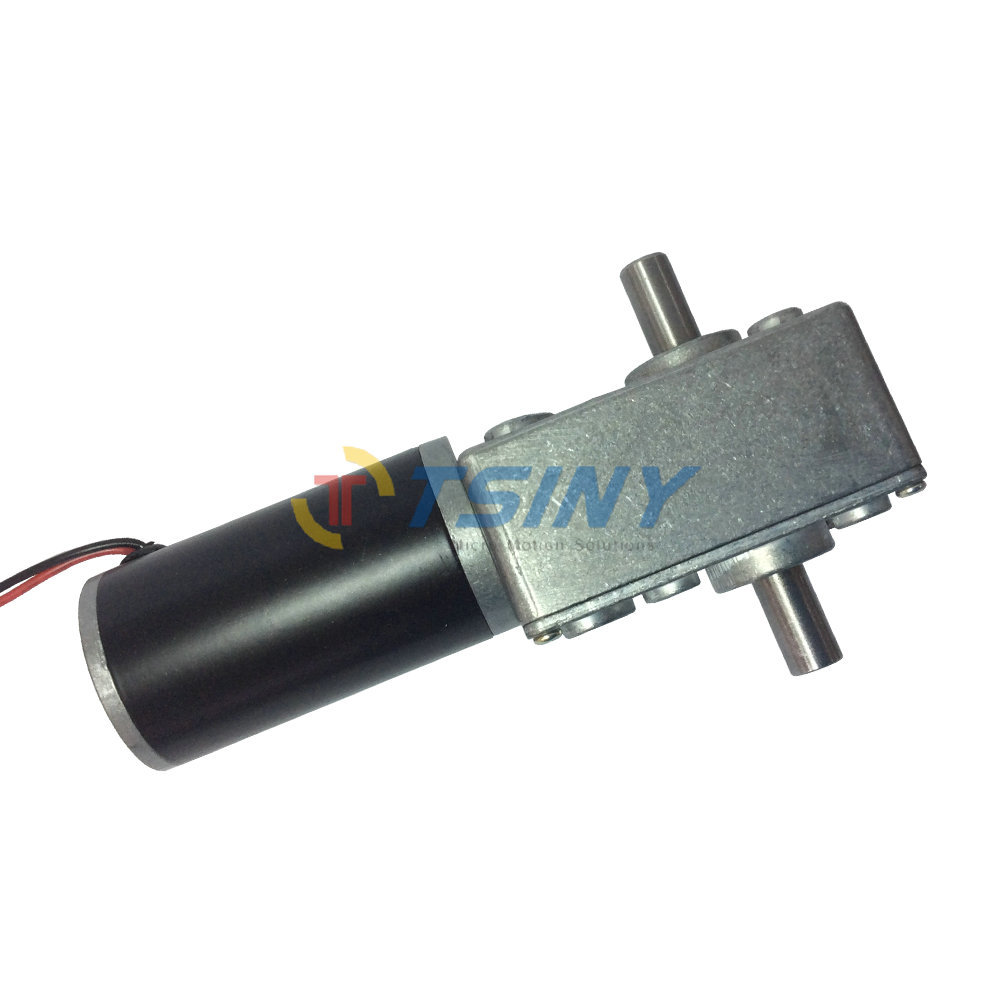 Small 12v Micro Dc Worm Gear Box Motor With Double Out Shaft Speed Gear Reducer 55rpm Low Speed